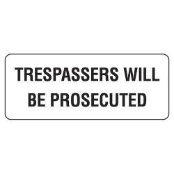 SIGN TRESPASSERS METAL 200X450