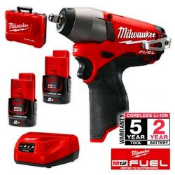 MILWAUKEE M12 FUEL 3/8 INCH DRIVE BRUSHLESS IMP WRENCH KIT 2X2.0AH