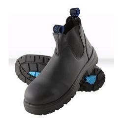 STEEL BLUE SAFETY BOOTS SLIP ON SIZE8 STYLE HOBART 312101 BLACK