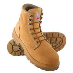 STEEL BLUE SAFETY BOOTS LACE UP SIZE8 STYLE ARGYLE 312102 WHEAT