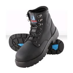 STEEL BLUE SAFETY BOOTS LACE UP SIZE10 STYLE ARGYLE 312102 BLACK