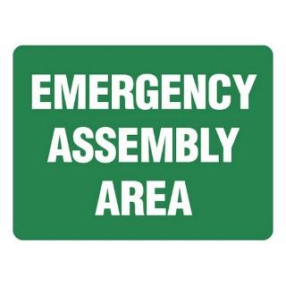 SIGN EMERGENCY ASSEMBLY METAL 600X450