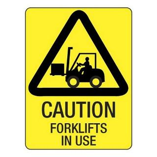 SIGN WARNING FORKLIFTS POLY 300X225