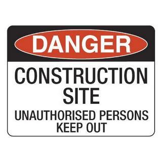 SIGN DANGER CONSTRUCTION SITE FLUTE 600X450
