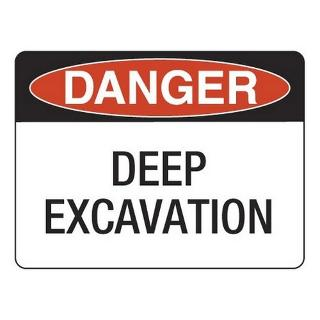 SIGN DANGER DEEP EXCAVATION FLUTE 400X450