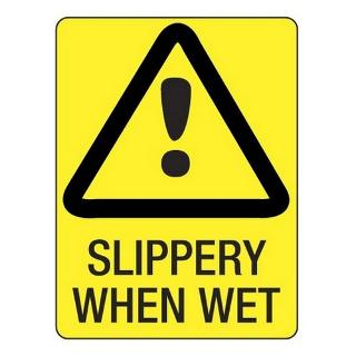SIGN WARNING SLIPPERY METAL 225X300