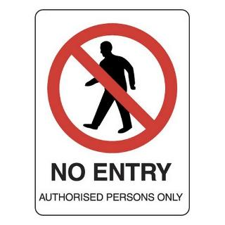 SIGN NO ENTRY METAL 225X300
