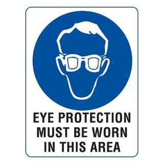 SIGN EYE PROTECTION METAL 300X450